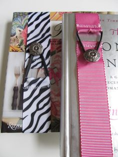 Ribbon bookmarks...and I'm thinking you could use glue if you don't have or know how to use a sewing machine.