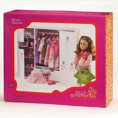 Cosas American Girl, American Girl Doll Sets, American Girls, American Girl Storage, Our Generation Doll Accessories, Our Generation Doll Clothes, Wooden Wardrobe Closet, Doll Wardrobe, Doll Storage