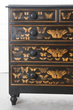 A spectacular five drawer Victorian painted chest of drawers from century England, that has more recently had beautiful gold moths decoupaged onto the piece. The chest has two smaller top drawers with three larger drawers beneath that are Hand Painted Furniture, Refurbished Furniture, Paint Furniture, Repurposed Furniture, Shabby Chic Furniture, Furniture Projects, Furniture Makeover, Furniture Decor, Funky Furniture