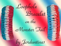 New Loophole Bracelet on the Monster Tail - Rainbow Loom - YouTube