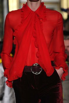 """Emillio Pucci F/W 2015-16 RTW "" red blouse"