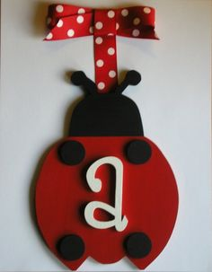 Ladybug Wooden Wall Letters Red/Black Ladybug Decor Hanging Wall Letter - Customized  SOLD PER LADYBUG