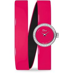 Dior La D de Dior Diamond & Patent Leather Bracelet Watch/Pink ($4,100) ❤ liked on Polyvore featuring jewelry, watches, wrap watch bracelet, water resistant watches, fine jewelry, pink watches and analog wrist watch