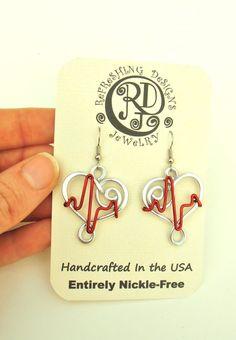 HEART EKG Earrings Anodized Aluminum wire by RefreshingDesigns