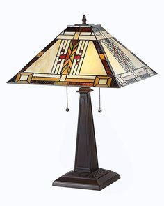 Arts Crafts E Stained Gl Table Lamp