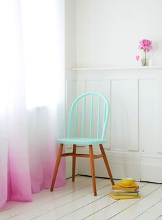 This color scheme is as refreshing as raspberry-lemon sorbet sprigged with mint on a hot summer day. Plus, those dip-dye curtains and painted chair are to die for! This pastel loveliness will be perfect for our love bird decor. Dip Dye Curtains, Ombre Curtains, Ombre Walls, Sheer Curtains, Cotton Curtains, Interior Pastel, Painted Furniture, Diy Furniture, Painted Chairs