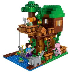 406Pcs Enlighten Mine World Minecrafted  The Tree House Building Blocks Brick My Craft Figures Kids Educational Toys
