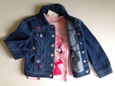 Girls Outfit Pink T-Shirt & Hearts Blue Jeans Jacket Size 5T Baby GAP #GAP #Everyday