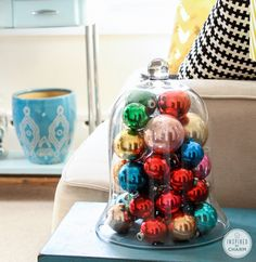 Decorating with Ornaments - great ideas for using glass ornaments in unique ways to decorate for the holidays!