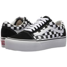 14f90758f2c Vans Old Skool Platform ((Checkerboard) Black True White) Skate Shoes (