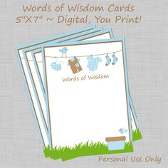 Printable Advice Cards Baby Shower Advice Cards by TheLoveofPaper5, $3.00