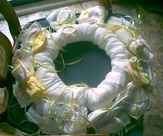 How to Make a Baby Diaper Wreath - www.SpecialBabyShowerGifts.com