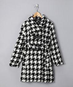 Look what I found on #zulily! Cream Houndstooth Coat - Girls #zulilyfinds
