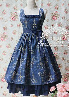 [Milu Forest] *Antique Scissors* JSK Long Navy Lolita Dress