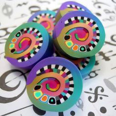 beads 006 by TLS Clay Design, via Flickr ~ very pretty colors/design