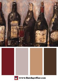color pallets for sports bars | Restaurant Color Palette: Wine Bar With French Glass, Art Print by ...