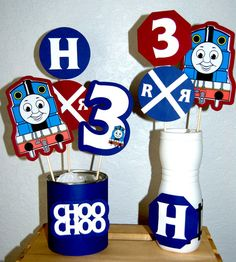 Candy table   https://www.etsy.com/listing/246976790/thomas-the-train-centerpiece-sticks
