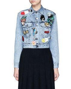 888021a2fdbf Alice + Olivia | Blue Chloe Embellished Cropped Denim Jacket | Lyst Denim  Jacket Patches,