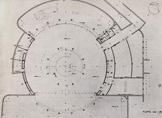 Plano de detalle del proyecto perspectiva de un museo en Tijuana, Baja California, México 1962   Arq. Pedro Ramírez Vázquez  y Rafael Mijares -  Plan detail for a proposed museum in Tijuana, BC, Mexico 1962