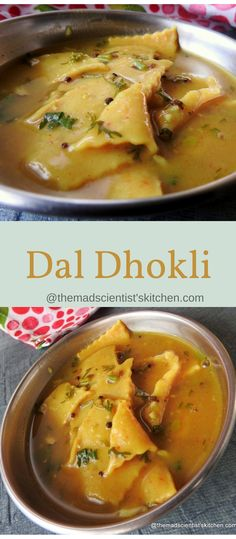 Dal Dhokli is a Gujarati dish made by boiling wheat flour noodles in a pigeon pea stew. In Maharashtra, it is called Varan Phal (Marathi: वरण फळ), or Chakolya (Marathi: चकोल्या). The dish is popular Veg Recipes, Brunch Recipes, Indian Food Recipes, Breakfast Recipes, Cooking Recipes, Healthy Recipes, Moringa Recipes, Healthy Soup, Indian Recipes
