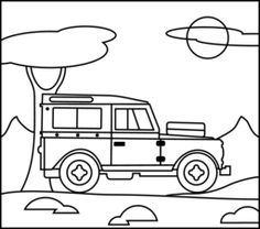Jeep Wrangler Coloring Book Page. #cartoon #drawing #art #