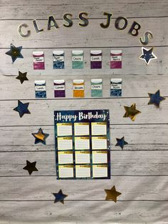 Birthday charts help you and your students to remember special days in style! Classroom Job Chart, Classroom Jobs, Classroom Organization, Classroom Decor, Star Themed Classroom, Theme Galaxy, Student Birthdays, Class Jobs, Birthday Charts