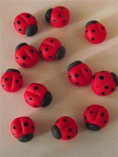 Edible Sugar Ladybugs/ ladybirds cake & cupcake topper, $16.00 via Etsy