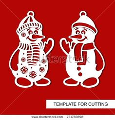 Snowman. Templates for laser cutting, wood carving, plotter cutting or printing.Vector illustration.