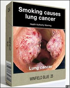 Australia to ban branding on cigarette packets | Australia is planning to force tobacco companies to remove all branding from their cigarette packets. They will instead show graphic health warnings and the name of the brand in plain text.    The Prime Minister, Kevin Rudd, said the measure would be the toughest on cigarette branding anywhere in the world. (29/04/10) || Product > What Is a Product? > Levels of Product and Services > Actual Product > > Packaging