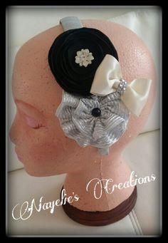 Black, silver & ivory headband