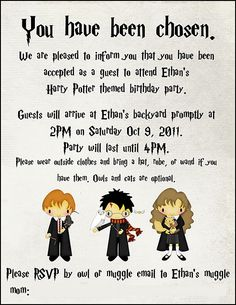 """Harry Potter Birthday Party- Loved all of her ideas! Especially the shop where the kids could use their """"money"""" to buy dollar store treats! Baby Harry Potter, Harry Potter Motto Party, Harry Potter Invitations, Harry Potter Baby Shower, Harry Potter Birthday Invitation, Harry Potter Themed Party, Harry Potter Treats, Harry Potter Birthday Cards, Jarry Potter"""