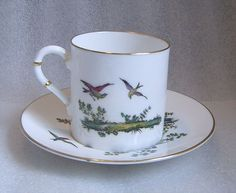 ROYAL WORCESTER PAINTED TRANSFER PHEASANT COFFEE CAN DEMITASSE CUP SAUCER c 1900 #RoyalWorcester