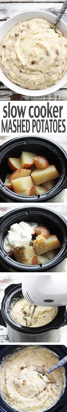 """These slow cooker mashed potatoes will change your life. Creamy, tons of flavor, and seriously the easiest mashed potatoes you will ever make - you'll never go back to boiling and smashing! #crockpot #slowcooker"""