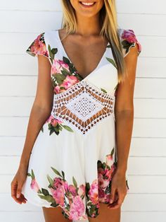 White Floral Deep V Neck Crochet Waist Short Sleeve Romper Playsuit