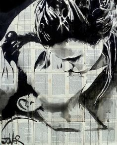 "Saatchi Art Artist LOUI JOVER; Drawing, ""kissing"" #art"
