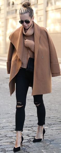Shades Of Camel And Black Fall Streetstyle Inspo by Brooklyn Blonde