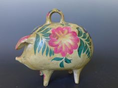 LARGE old vintage Mexican Tlaquepaque ceramic piggy bank long Walking Man, Mexican Art, Old And New, Cool Designs, Carving, Pottery, Clay, Hand Painted, Ceramics