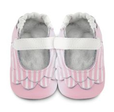 Shooshoos - pink / white stripes ballet pumps baby girl shoes.