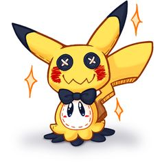 I knew it, I knew that it wouldn't take long for two things to appear, a plush doll of mimikkyu, and a drawing of mimikkyu wearing a really nice pikachu suit, the kind of thing I would expect from some trainers... XD... now I want both a mimikkyu doll and a mimikkyu with a nice suit doll