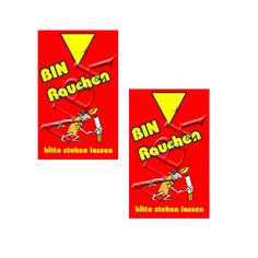 """Scherzanhänger fürs Glas """"Bin Rauchen"""" Feuerzeug rot"""