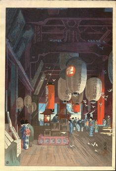 Large image of your selected item (Chinese and Japanese woodblock prints for sale, silkscreen, scrolls, watercolor, lithographs) Japan Illustration, Japanese Artwork, Japanese Prints, Japanese Woodcut, Japanese Temple, Japan Painting, Art Japonais, Kandinsky, Japan Art