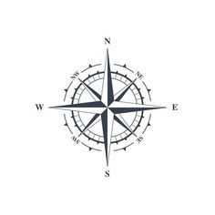 Vector illustration isolated on white background - Compass sign, wind rose icon. Vector illustration isolated on white background Stock Photo – 6762 -