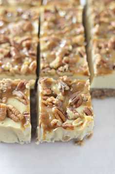 Pecan Pie Cheesecake Bars, Vegan and Gluten-Free! You are going to love these clean eating bars! Pecan Pie crust with dairy-free, no bake cheesecake filling. No Bake Cheesecake Filling, Pecan Pie Cheesecake, Cheesecake Recipes, Vegan Cheesecake, Healthy Dessert Recipes, Vegan Desserts, Just Desserts, Delicious Desserts, Plated Desserts