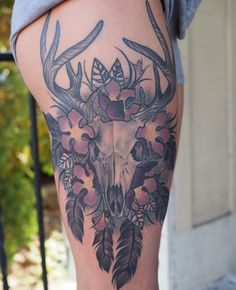 Deer skull tattoos are worn by people for various reasons. For several, the look in the deer skull can be an interesting mix between a creature tattoos alo