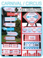 Circus Party Printables, Invitations & Decorations – red & aqua