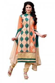 Orange Chanderi And Cotton Churidar Suit With Dupatta  Price:$ 43.92  Orange Chanderi semi stitch churidar suit. Allover embroidered with work. Chinese collar, Below knee length, half sleeves kameez. Cream cotton churidar. Cream with Green chiffon dupatta with lace border with work.  http://www.andaazfashion.com/salwar-kameez/churidar-suits/orange-chanderi-and-cotton-churidar-suit-with-dupatta-dmv13920.html