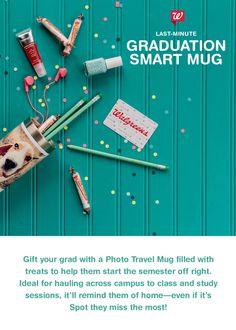 For a thoughtful graduation sendoff gift, fill a Photo Travel Mug with school supplies and treats that will make freshman year a breeze. Printed with photos of family and friends, the mug will remind them of home every time they pour a cup of joe.