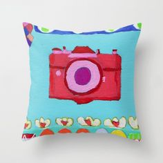 Tati Galiano. Illustration. Society6. Throw Pillow colorful camera. #society6 #camera #colorful