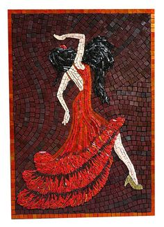 Scarlet Dancer Gold Smalti Mosaic