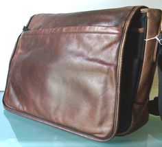 Leather & Nylon Crossbody Messenger Bag by TheOldBagOnline on Etsy